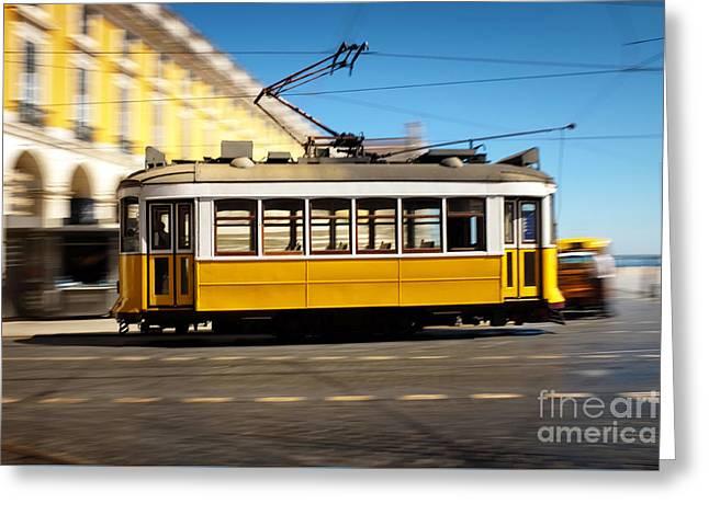 Tram Photographs Greeting Cards - Lisbon Tram Panning Greeting Card by Carlos Caetano