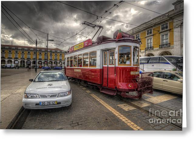 Lisbon Tram Greeting Card by Yhun Suarez