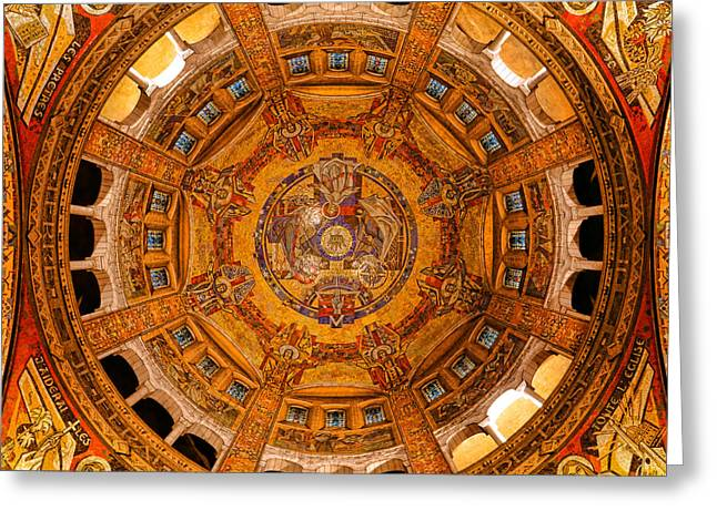 Lisieux St Therese Basilica Dome Ceiling Greeting Card by Olivier Le Queinec