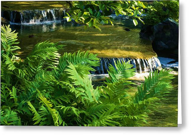 Noise . Sounds Digital Greeting Cards - Listen to the Babbling Brook - Green Summer Zen Impressions Greeting Card by Georgia Mizuleva