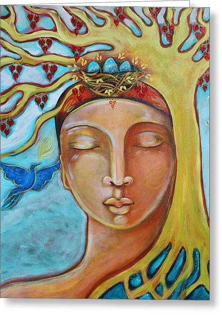 Roots Paintings Greeting Cards - Listening Greeting Card by Shiloh Sophia McCloud
