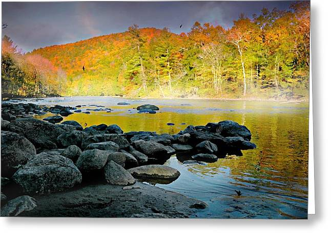 Reflections In River Greeting Cards - Litchfield Connecticut Greeting Card by Diana Angstadt