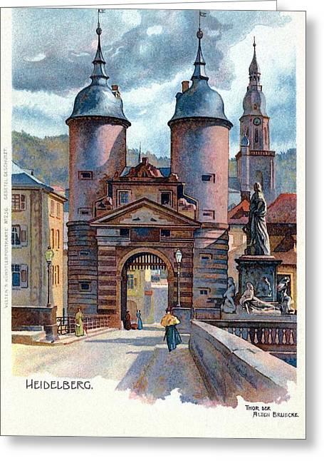 Litho Heidelberg Old Bridge Gate Greeting Card by Aapshop