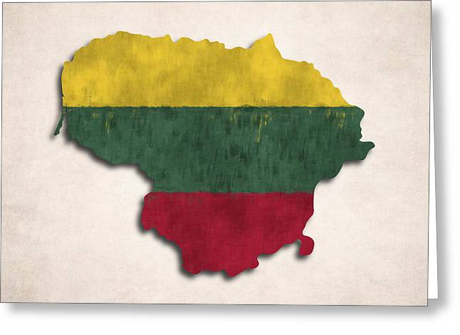 Lithuania Greeting Cards - Lithuania map art with flag design Greeting Card by World Art Prints And Designs