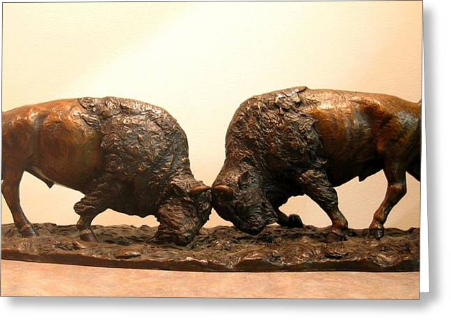 Western Sculptures Greeting Cards - Litigation  Bronze sculpture of two American Bison Bulls Fighting Greeting Card by Kim Corpany