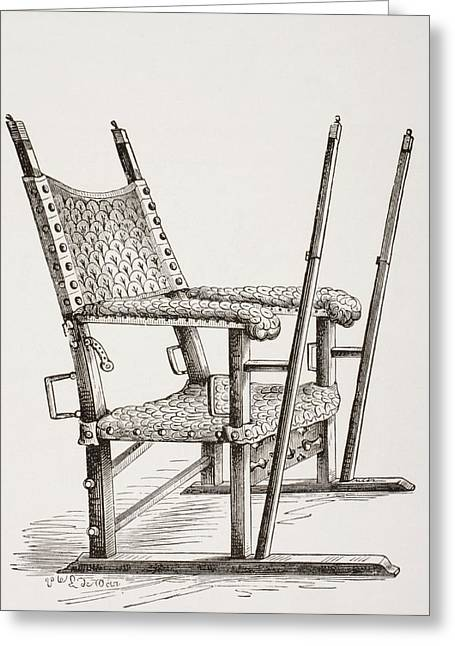 Invalids Greeting Cards - Litter Chair Used By Carlos I Of Spain Greeting Card by Vintage Design Pics