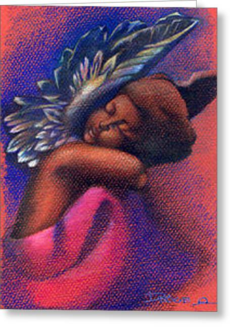 Angel Blues Greeting Cards - Little Angel Greeting Card by Dawn Campbell
