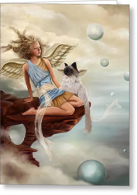 Seraphim Angel Greeting Cards - Little Angel Greeting Card by Maggie Terlecki