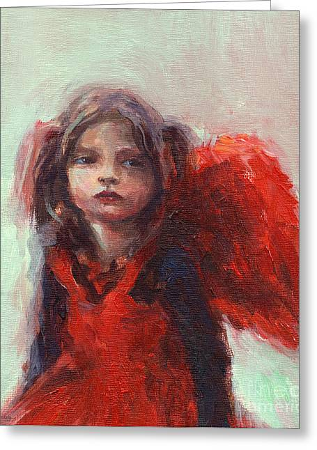 Girl In Dress Greeting Cards - Little angel Greeting Card by Svetlana Novikova