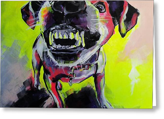 Growling Paintings Greeting Cards - Little Angry One Greeting Card by Gabriela Holcer