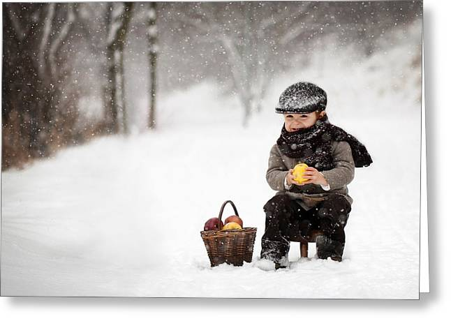 Chairs Greeting Cards - Little Apple Seller Greeting Card by Tatyana Tomsickova