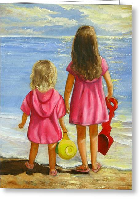 Family Art Greeting Cards - Little Beachcombers Greeting Card by Joni McPherson