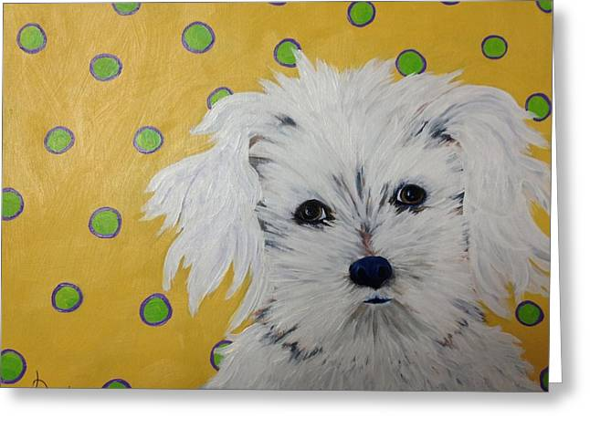 White Maltese Greeting Cards - Little Bear Greeting Card by Karen Dukes