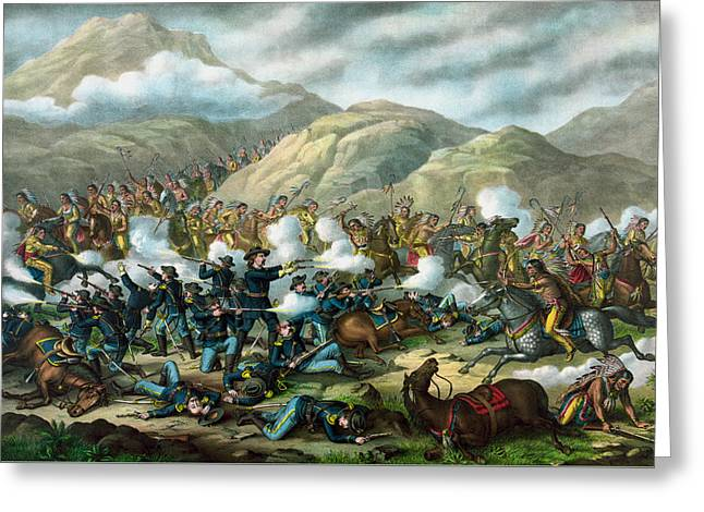 Last Stand Greeting Cards - Little Bighorn - Custers Last Stand Greeting Card by War Is Hell Store