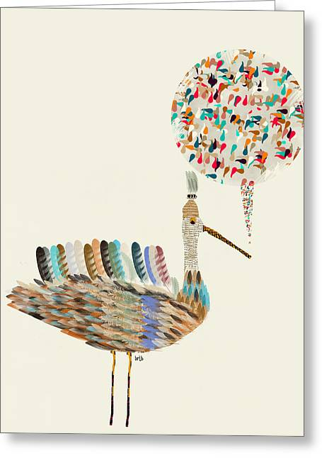 Speech Bubble Greeting Cards - Little Bird Greeting Card by Bri Buckley