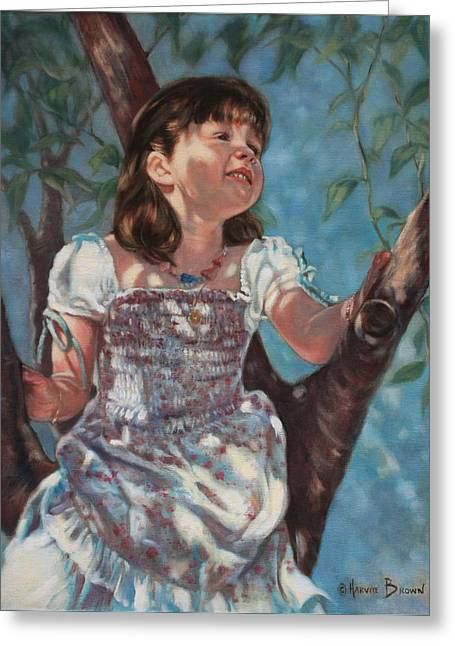 Girl In Dress Greeting Cards - Little Bird Watcher Greeting Card by Harvie Brown