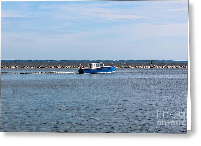Fishing Enthusiast Greeting Cards - Little Blue Boat Greeting Card by Robert Yaeger