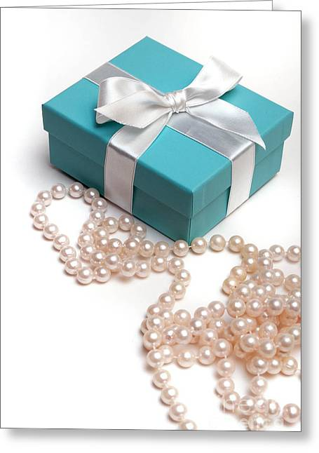 Beads Greeting Cards - Little Blue Gift Box and Pearls Greeting Card by Amy Cicconi