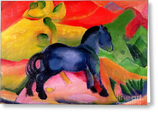 Expressionist Horse Greeting Cards - Little Blue Horse Greeting Card by Franz Marc