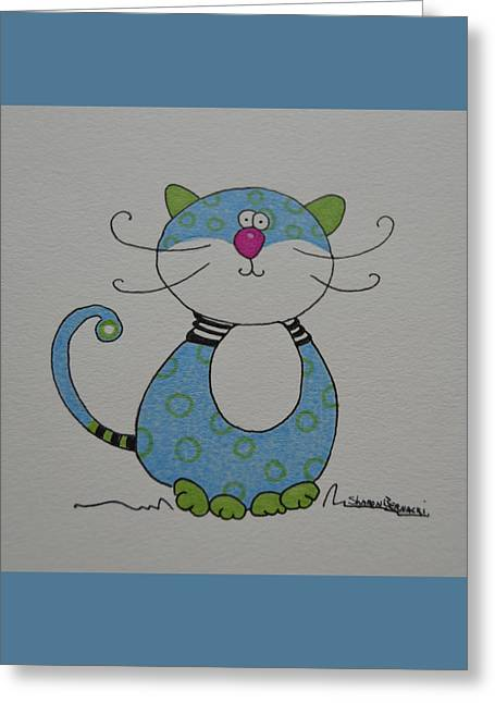 Kitten Prints Greeting Cards - Little Blue Kitty Cat Greeting Card by Sharon Bernacki