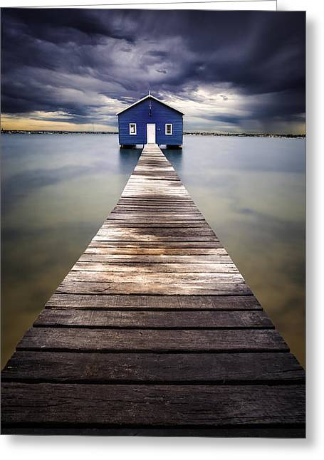 Sheds Greeting Cards - Little Blue Greeting Card by Leah Kennedy