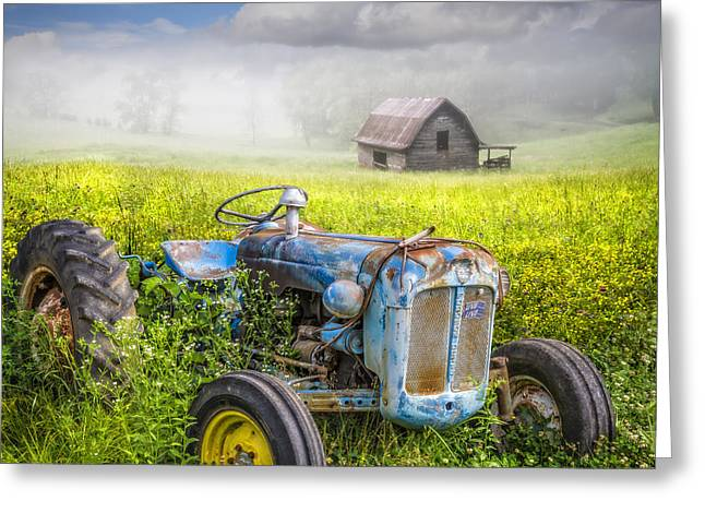 The Horse Greeting Cards - Little Blue Tractor Greeting Card by Debra and Dave Vanderlaan