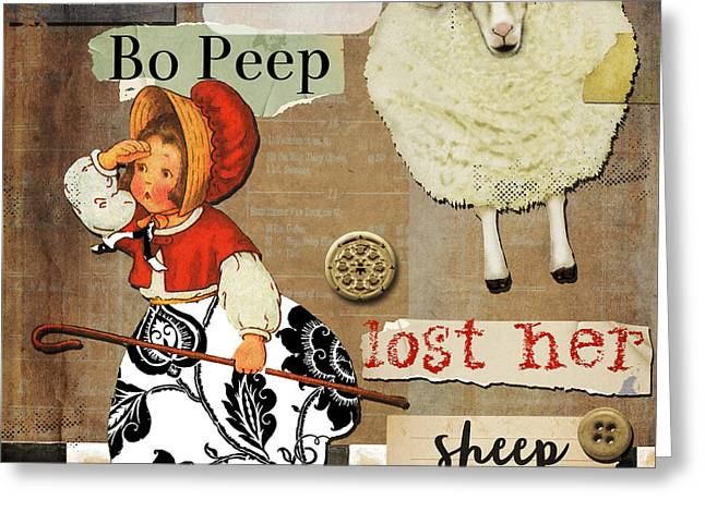 Mother Goose Greeting Cards - Little Bo Peep Nursery Rhyme Greeting Card by Mindy Sommers
