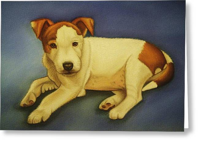 Puppies Pastels Greeting Cards - Little Bob - Jack Russell puppy Greeting Card by Lucy Deane