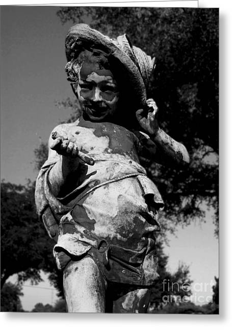 Child Sculptures Greeting Cards - Little Boy Black and White Greeting Card by Nathan Little
