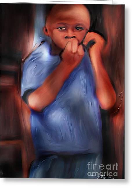 Haitian Digital Greeting Cards - Little Boy Blue Greeting Card by Bob Salo