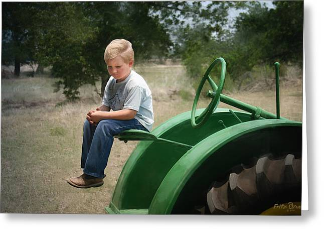 Tractor Prints Greeting Cards - Little boy on tractor    2999 Greeting Card by Fritz Ozuna