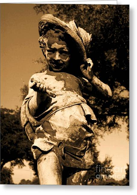 Child Sculptures Greeting Cards - Little Boy Sepia Greeting Card by Nathan Little