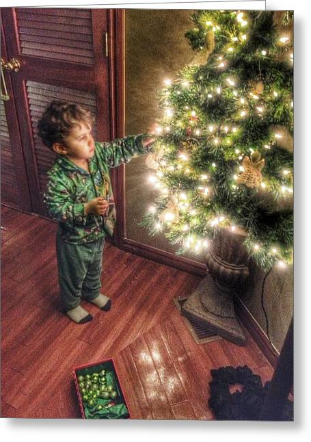 Pajamas Greeting Cards - Little Boys Christmas Tree  Greeting Card by Buck Buchanan