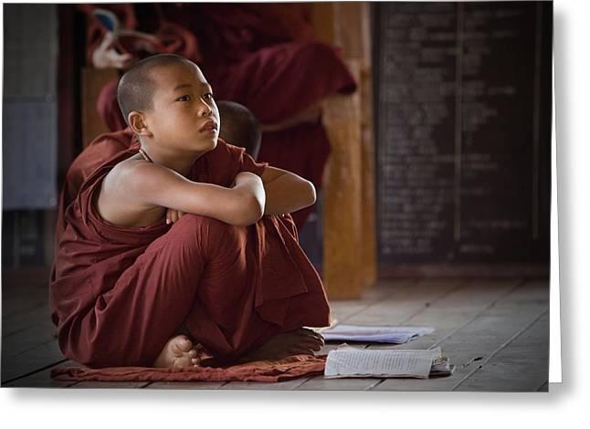 Myanmar Greeting Cards - Little Buddha Greeting Card by Walde Jansky