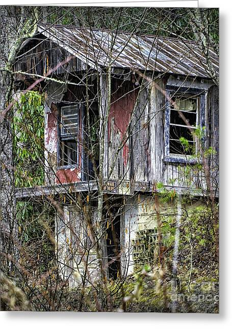 Mountain Cabin Greeting Cards - Little Cabin in the Woods Greeting Card by Walt Foegelle