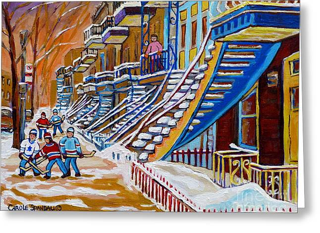 Hockey Paintings Greeting Cards - Little Canadian Boys Play Street Hockey Near Winding Yellow Staircase Montreal Winter Scene Art Greeting Card by Carole Spandau