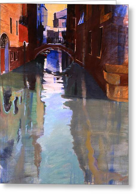 Blue Green Water Greeting Cards - Little Canal Greeting Card by Simon Fletcher