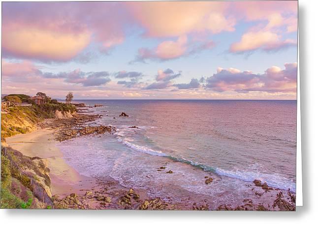 Little Corona Beach Orange County Beautiful Sunset Greeting Card by Ariane Moshayedi
