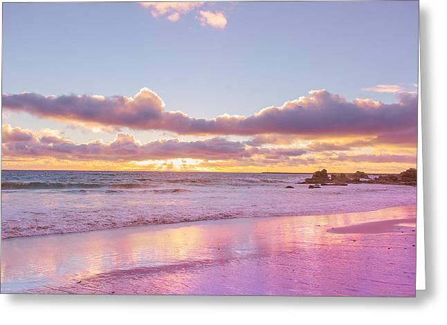 Little Corona Beach Orange County Beautiful Sunset In Waves Greeting Card by Ariane Moshayedi