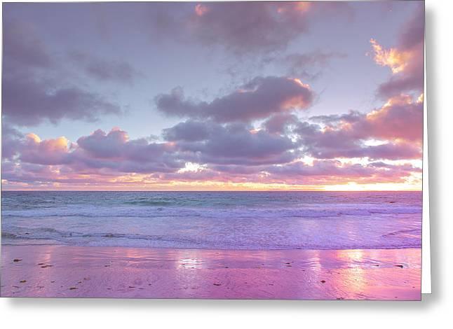 Little Corona Beach Orange County Beautiful Sunset Moody Ocean Greeting Card by Ariane Moshayedi