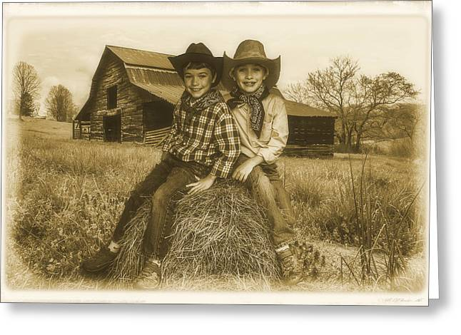 Little Cabin Greeting Cards - Little Cowboys Greeting Card by Debra and Dave Vanderlaan