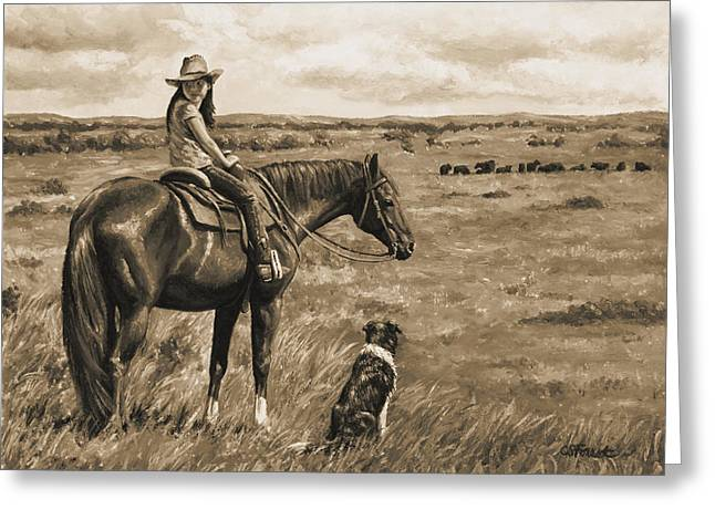 Old Western Photos Greeting Cards - Little Cowgirl on Cattle Horse in Sepia Greeting Card by Crista Forest