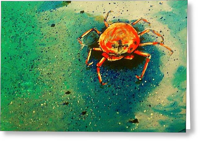 Sand Castles Paintings Greeting Cards - Little Crab Greeting Card by Heather  Gillmer