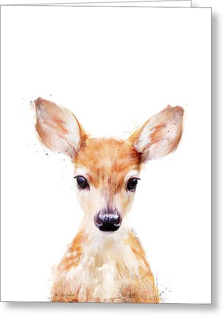 Fawn Greeting Cards - Little Deer Greeting Card by Amy Hamilton