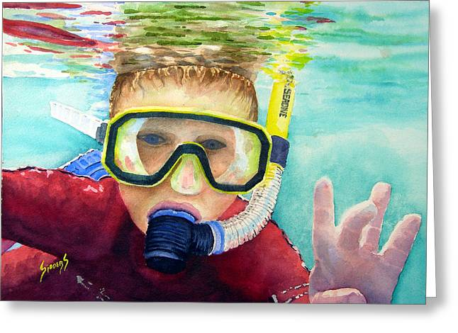 Snorkel Greeting Cards - Little Diver Greeting Card by Sam Sidders