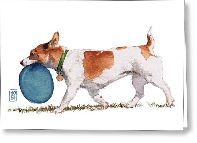 Dog Artists Greeting Cards - Little Dog with Blue Frisbee Greeting Card by Debra Jones