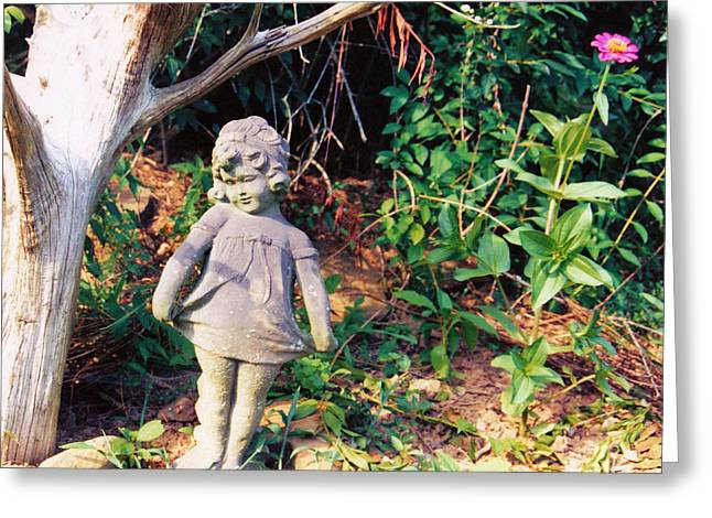 Garden Statuary Greeting Cards - Little Flowergirl Greeting Card by Jan Amiss Photography