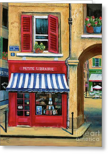 Paris Shops Greeting Cards - Little French Book Store Greeting Card by Marilyn Dunlap
