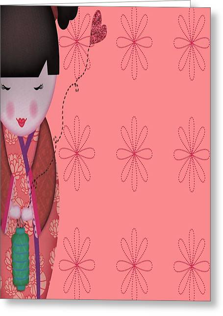 Little Geisha Pink Greeting Card by Jannina Ortiz