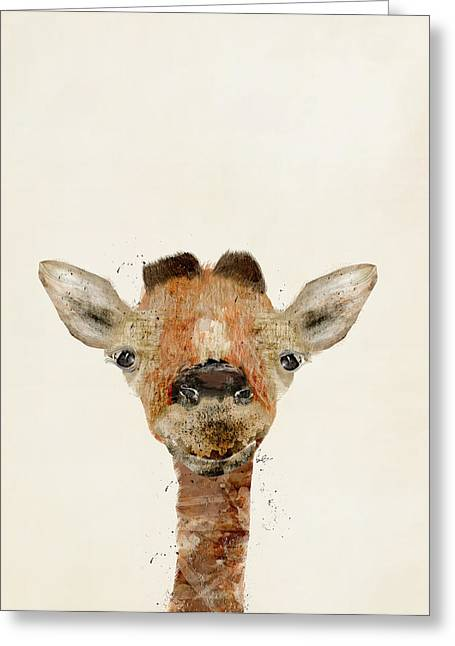 Quirky Greeting Cards - Little Giraffe Greeting Card by Bri Buckley